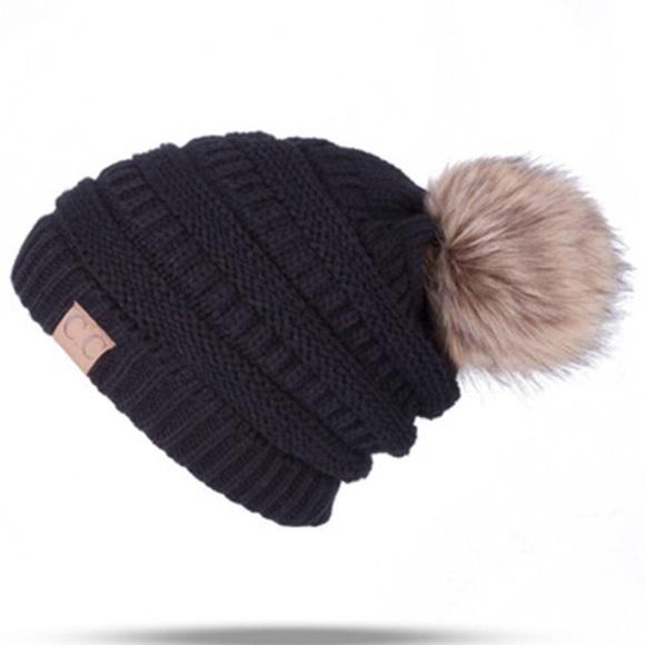 C.C Black Cable Knit Beanie Faux Fur Pom Pom 2fc26d123d5e